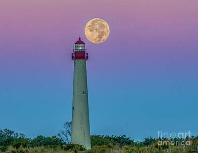 Photograph - Hunter's Moon Over Cape May Lighthouse by Nick Zelinsky