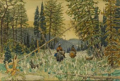 Horse In Forest Painting - Hunters On Horseback In A Pine Forest by MotionAge Designs
