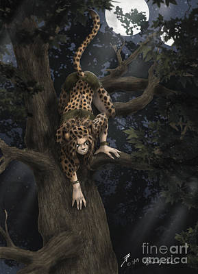 Cheetah Drawing - Hunting By Moonlight by Brandy Woods