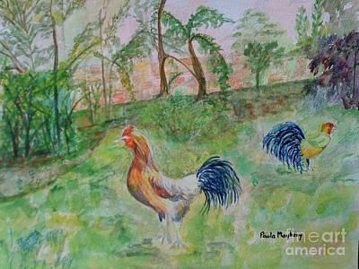 Hunting Cockerels Art Print