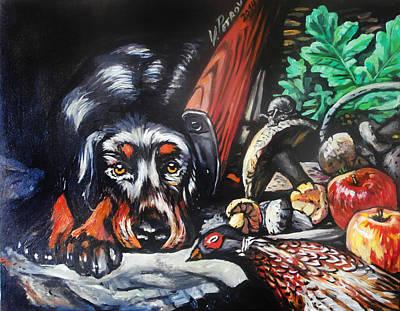 Naturmort Painting - Hunting Dog by Vladimir Petrov