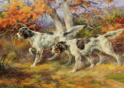 Sniffing Painting - Hunting Dogs by Edmund Henry Osthaus