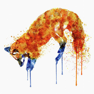 Fox Wall Art - Painting - Hunting Fox  by Marian Voicu