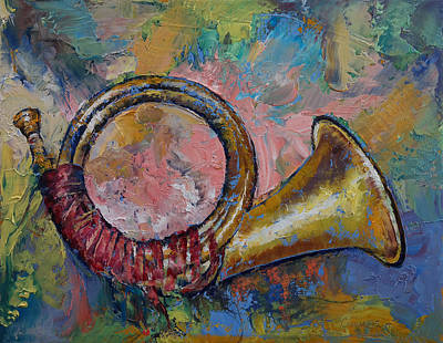 French Horn Painting - Hunting Horn by Michael Creese