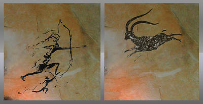 Mixed Media - Hunting Ibex At Cova Remigia  by Asok Mukhopadhyay