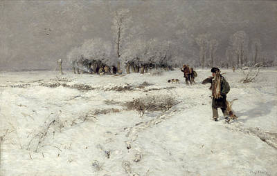 Dog In Landscape Painting - Hunting In The Snow by Hugo Muhlig
