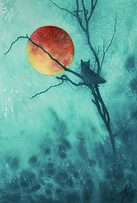 Painting - Hunting Moon Iv Or Great Horned Owl by Robin Street-Morris