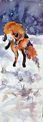 Red Fox Painting - Hunting Red Fox by Kovacs Anna Brigitta