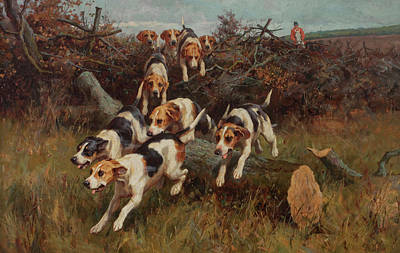 Sniffing Painting - Hunting Scenes by lfred Duke