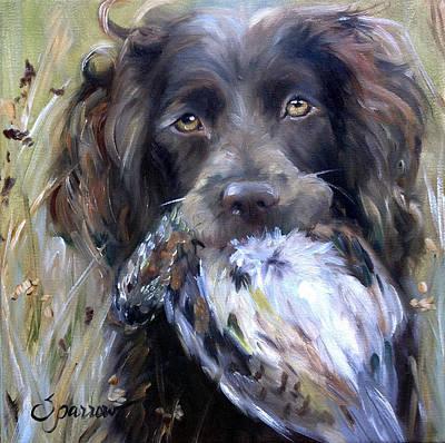 Boykin Spaniel Painting - Hunting Season by Mary Sparrow