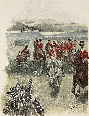 Red Foxes Drawing - Hunting Trip,  Horses And Hounds by J Akermark
