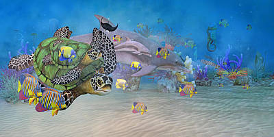 Turtle Digital Art - Huntington Beach Imaginative  by Betsy Knapp