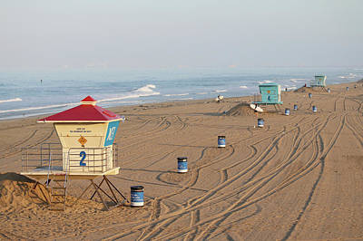 Photograph - Huntington Beach Lifeguard Towers by Art Block Collections