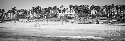 Huntington Beach California Photograph - Huntington Beach Panorama Black And White Photo by Paul Velgos