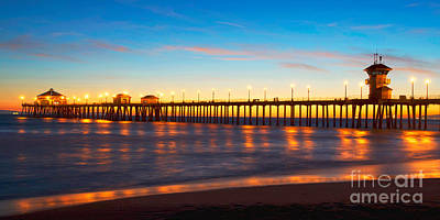 Huntington Beach Pier - Twilight Art Print by Jim Carrell
