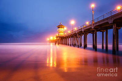 Huntington Beach Pier At Sunrise Print by Paul Velgos