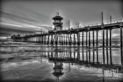 Photograph - Huntington Beach Pier B W Sunset Reflections California Surfing Mecca Art by Reid Callaway