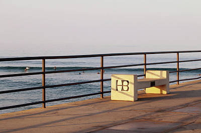 Photograph - Huntington Beach Pier Bench by Art Block Collections