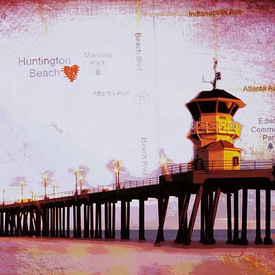 Huntington Digital Art - Huntington Beach Pier Ca by Brandi Fitzgerald