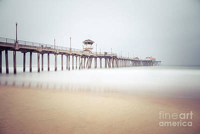 Huntington Beach California Photograph - Huntington Beach Pier Foggy Morning by Paul Velgos
