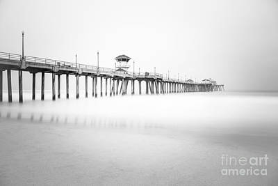 Huntington Beach California Photograph - Huntington Beach Pier In Black And White by Paul Velgos