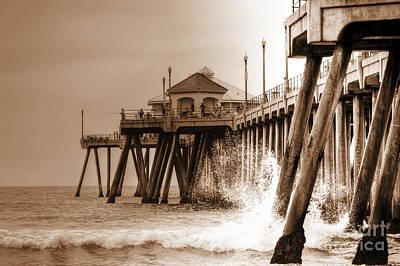 Huntington Beach Pier In Sepia Art Print