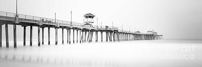 Huntington Beach California Photograph - Huntington Beach Pier Panorama In Black And White by Paul Velgos