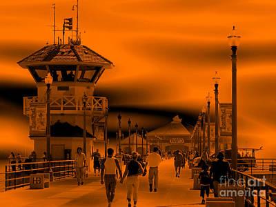 Metal Photograph - Huntington Beach Pier People 1 by Abstract Angel Artist Stephen K