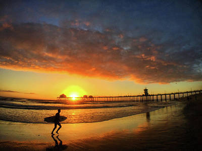 Photograph - Huntington Beach Pier Sunset by Braden Moran