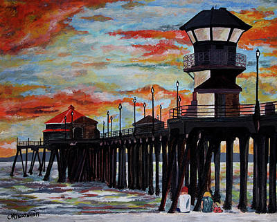 Painting - Huntington Beach Pier Sunset by Carol Tsiatsios