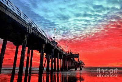Photograph - Huntington Beach Pier Sunset by Peter Dang