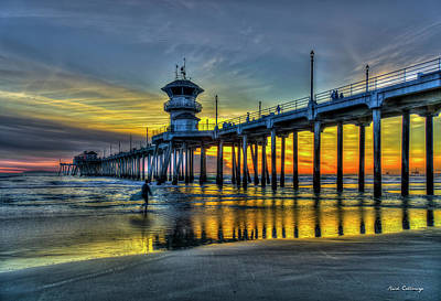 Photograph - Huntington Beach Pier Sunset Reflections California Surfing Mecca Art by Reid Callaway