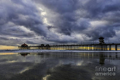 Photograph - Huntington Beach Pier Sunset With Reflections by Peter Dang