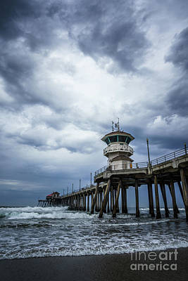 Dramatic Image Photograph - Huntington Beach Pier With Storm Clouds by Paul Velgos