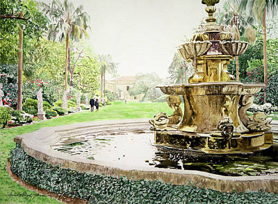 California Watercolor Artists Painting - Huntington Fountain Morning Mist by David Lloyd Glover