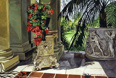 Painting - Huntington Loggia Azaleas by David Lloyd Glover