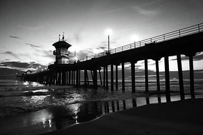 Photograph - Huntington Beach Pier Black And White by Kip Krause