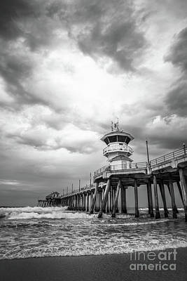 Dramatic Image Photograph - Huntington Pier Storm Clouds Black And White Photo by Paul Velgos