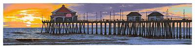 Coast Hwy Ca Painting - Huntington Pier Sunset by Andrew Palmer