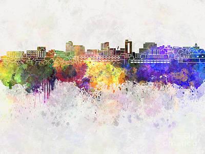 Huntington Painting - Huntington Skyline In Watercolor Background by Pablo Romero