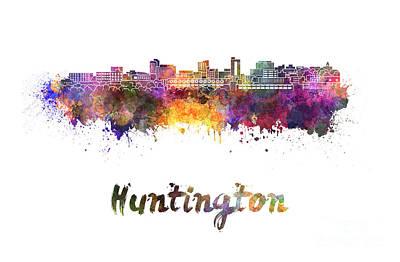 Huntington Painting - Huntington Skyline In Watercolor by Pablo Romero
