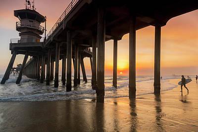 Pastel Sunset Photograph - Huntington Sunset Surfer by Sean Davey