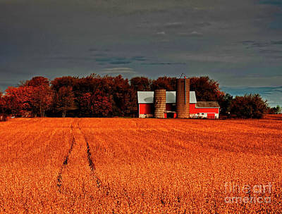 Photograph - Huntley,  Longmeadow,  Barn, Bean, Field, Fall by Tom Jelen