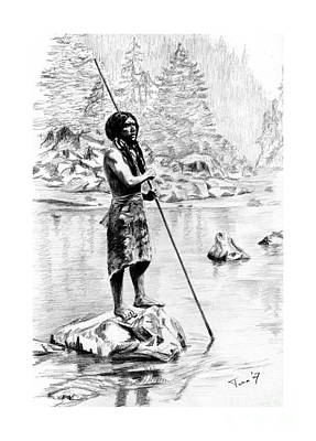 Drawing - Hupa Fisherman by Toon De Zwart