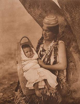 Hupa Mother And Child C.1923 , Native American By Edward Sheriff Curtis, 1868 - 1952 Art Print