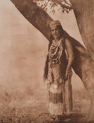 Hupa Woman In Primitive Costume , Native American By Edward Sheriff Curtis, 1868 - 1952 Art Print