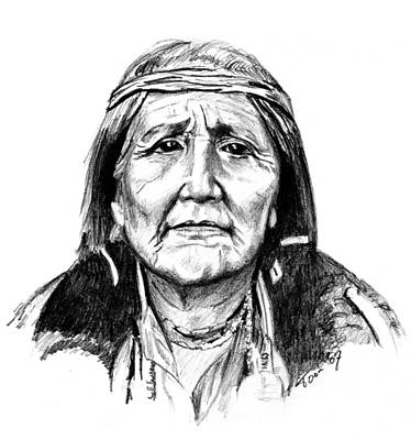 Drawing - Hupa Woman by Toon De Zwart