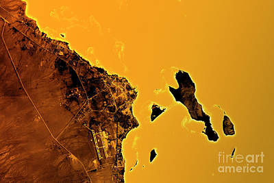 Cartography Digital Art - Hurghada Abstract City Map Golden by Frank Ramspott