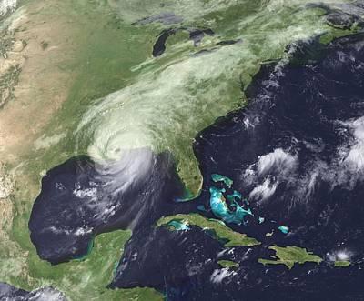 Hurricane Katrina Over Southeast Art Print by Everett