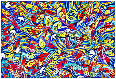 Painting - Hurricane Of Doves And Hearts by Lise Winne